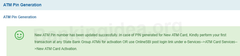 SBI New ATM Debit card Pin Generation Online