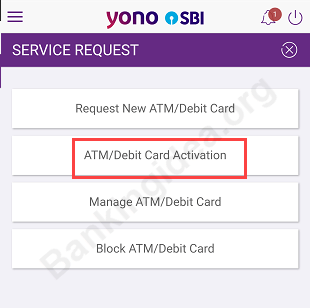 Activate SBI ATM card SBI YONO