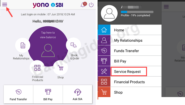 SBI YONO Service Request