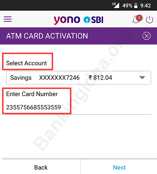 SBI YONO activate atm card