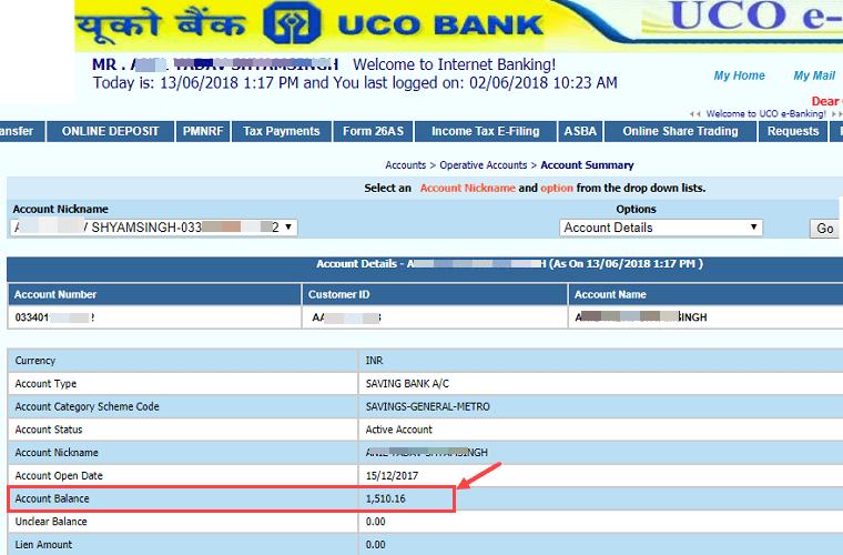 Check UCO Bank Account Balance Online