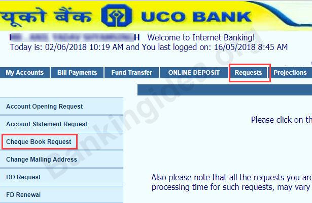 Request UCO Bank Cheque Book Online
