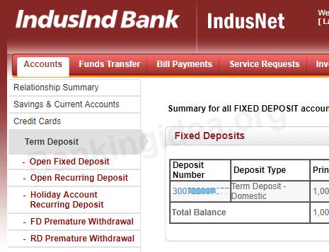 Indusind bank open fixed deposit online