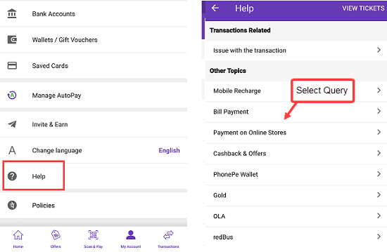 Phonepe customer support