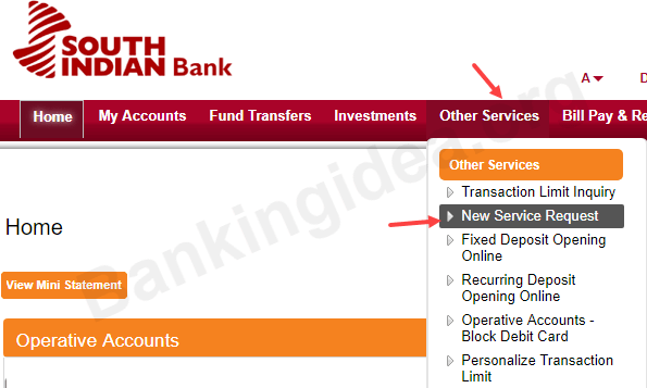 Cheque Book request South Indian Bank
