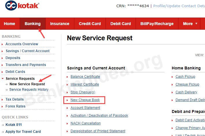 Kotak Mahindra Bank Request Cheque Book online