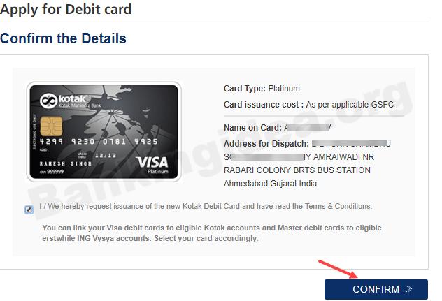 Apply kotak Mahindra bank debit card online