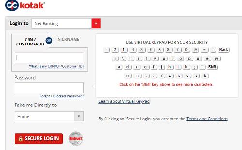 Kotak Bank net banking login