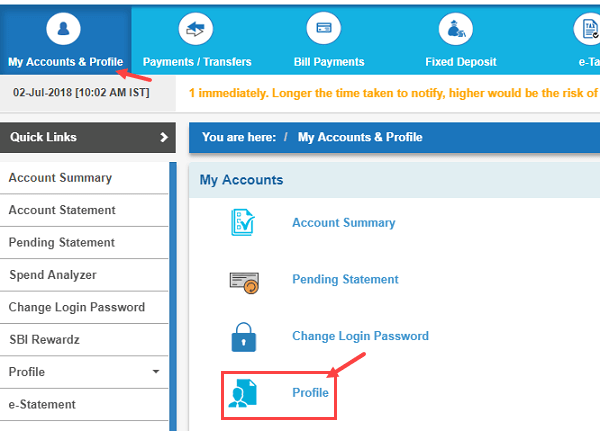 register-pan card sbi account online
