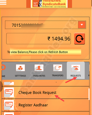 Request Syndicate Bank Cheque Book Online