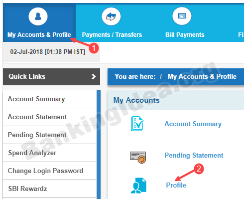 Change SBI registered mobile number online