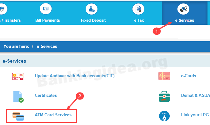 SBI net banking ATM card services