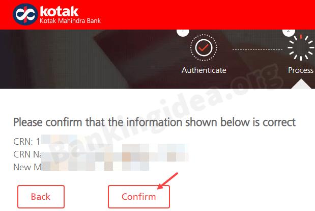 Kotak Bank change registered mobile number