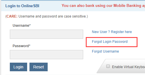 forgot SBI net banking login password