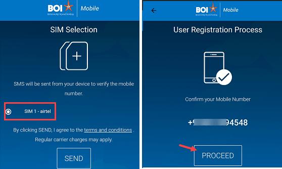 BOI mobile banking registration process