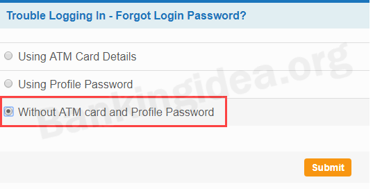 Reset SBI net banking login password
