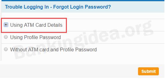Reset SBI net banking login password