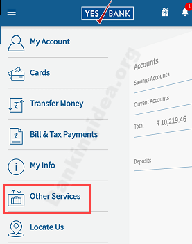 Yes Bank Cheque Book online request