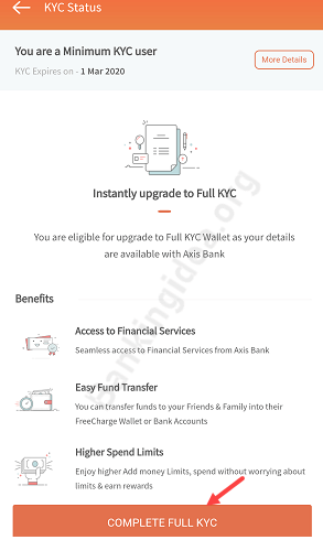 Complete FreeCharge Full KYC online (For Axis Bank Customers)
