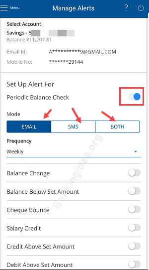 HDFC SMS and email alert