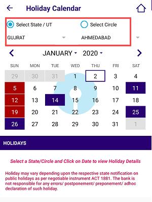 SBI Holiday Calendar