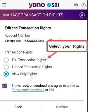 SBI transaction rights