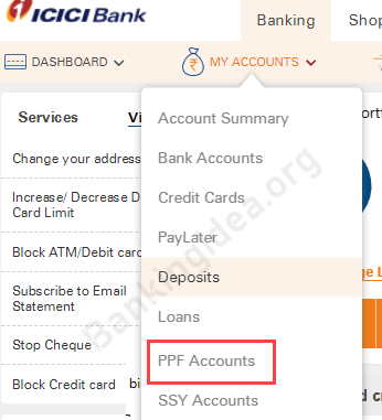 ICICI PPF account transfer money online