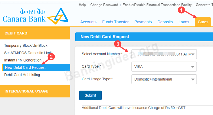 Canara Bank ATM Debit card apply Online