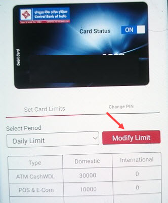 Central Bank of India Debit Card for International Payment