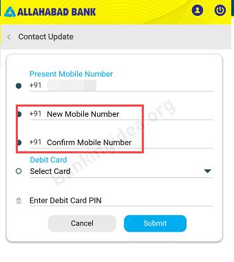change Online Allahabad Bank Mobile number