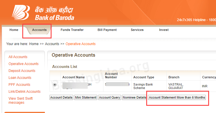 Bank of Baroda statement