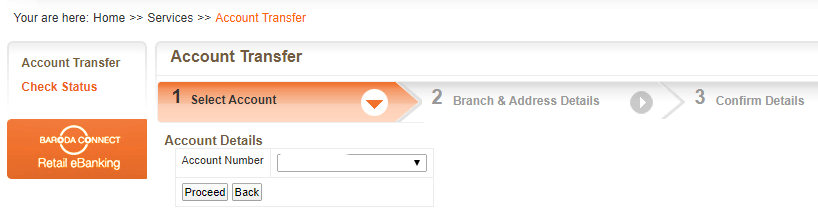 Transfer Bank of Baroda Account To New Branch Online