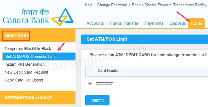 canara bank visa debit card online transaction limit