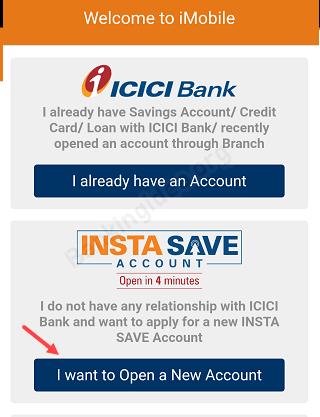 ICICI open account online