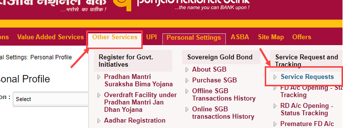 PNB Cheque Book apply Online