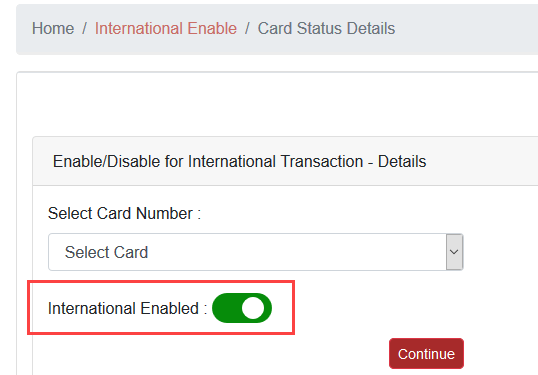 Enable South Indian Bank Debit card International Transactions