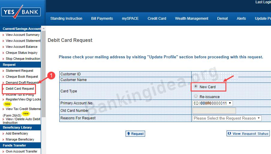 Yes bank debit card apply online