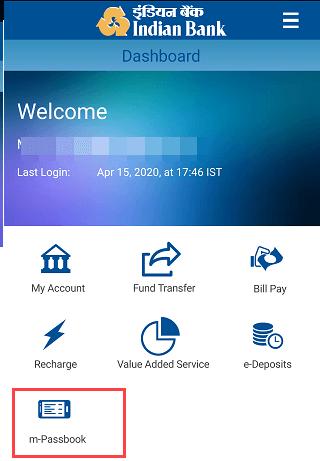 Indian Bank Mlobile Banking mPassbook