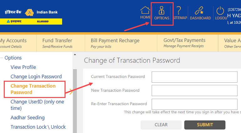 change Indian Bank Transaction Password