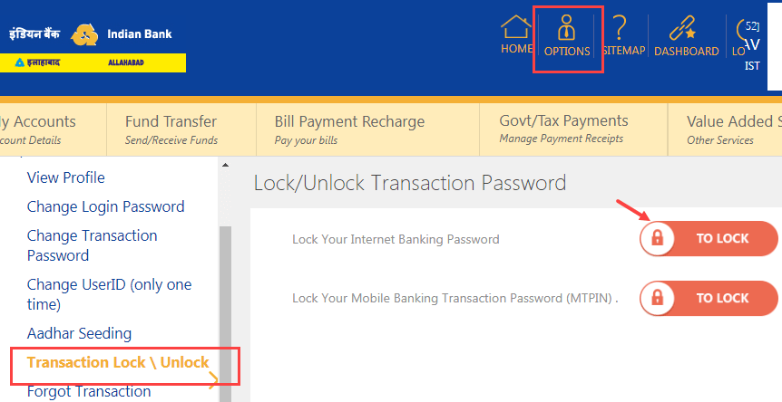unlock Indian Bank Transaction Password