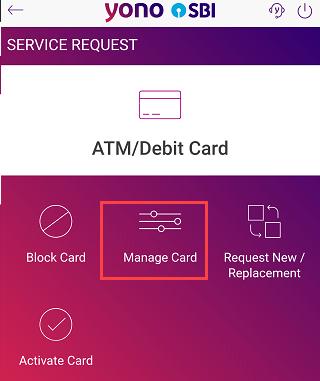 SBI yono manage card