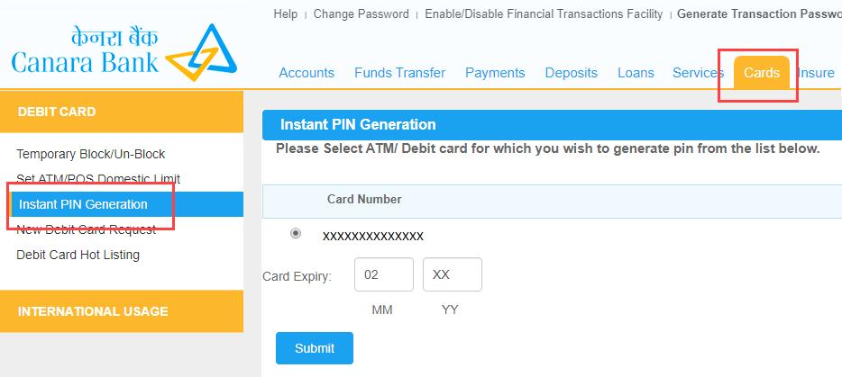generate Canara Bank ATM PIN ONLINE