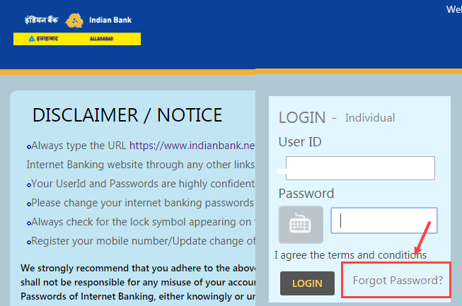 Reset Indian Bank Net Banking Login Password