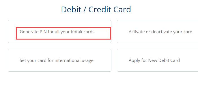 generate Kotak ATM PIN Online