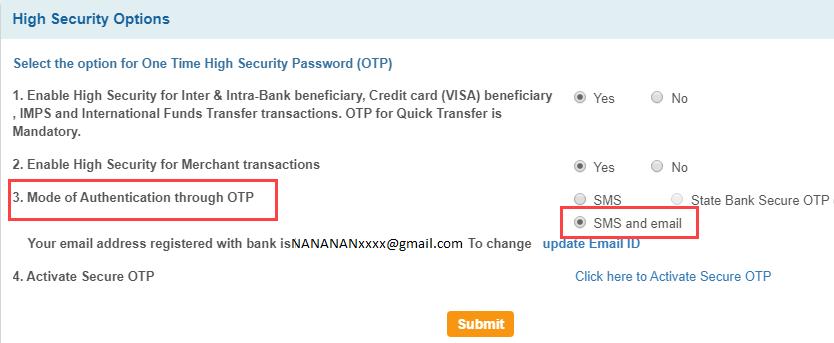 SBI OTP email