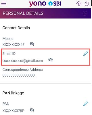 SBI YONO change register email ID