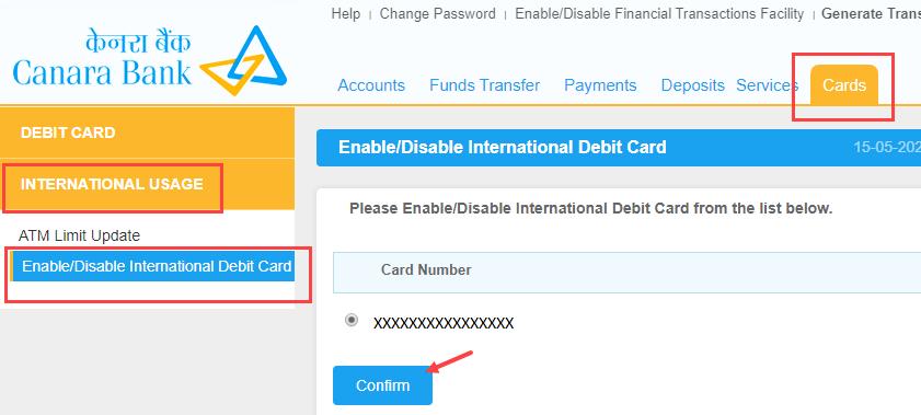 Canara ATM Debit card international usage transaction