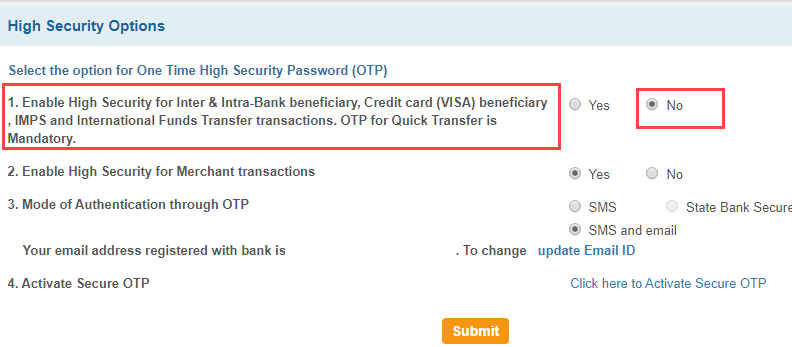 SBI OTP disable deactivate
