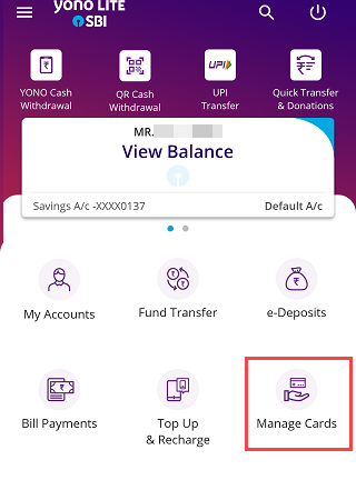 SBI YONO Lite manage Debit cards