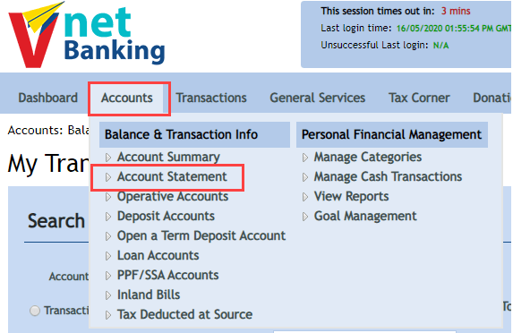 Vijaya Bank Account Statement Online